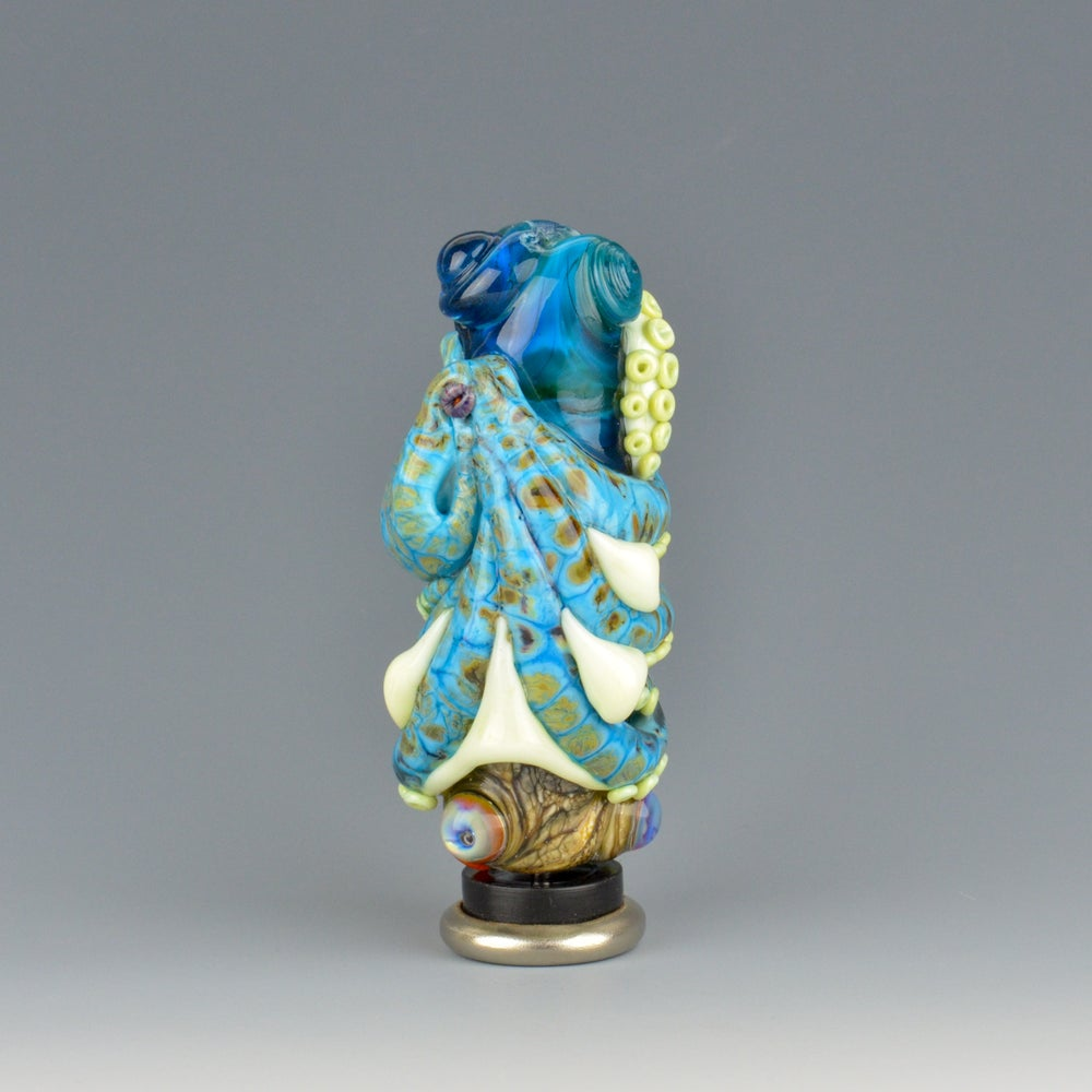 Image of XXXL. Tangled Turquoise Octopus Tower - Flamework Glass Sculpture Bead
