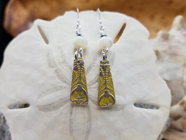 Image of Recycled Fine Silver- Handmade- Mother of Pearl- Earrings- #369