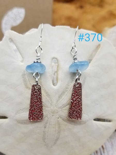 Image of Recycled Fine Silver- Handmade- Aquamarine- Earrings- #370