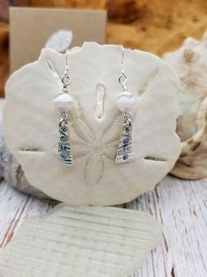 Image of Recycled Fine Silver- Handmade- Mothet of Pearl- Earrings- #371