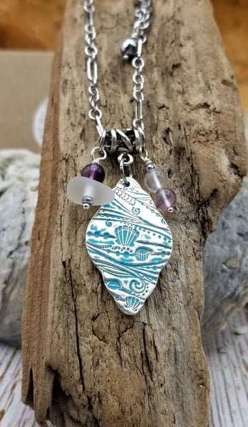 Image of Recycled Fine Silver- Handmade- Sea Glass- Fluorite- Necklace- #372