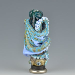 Image of XXXL. Tangled Periwinkle Octopus Tower - Flamework Glass Sculpture Bead