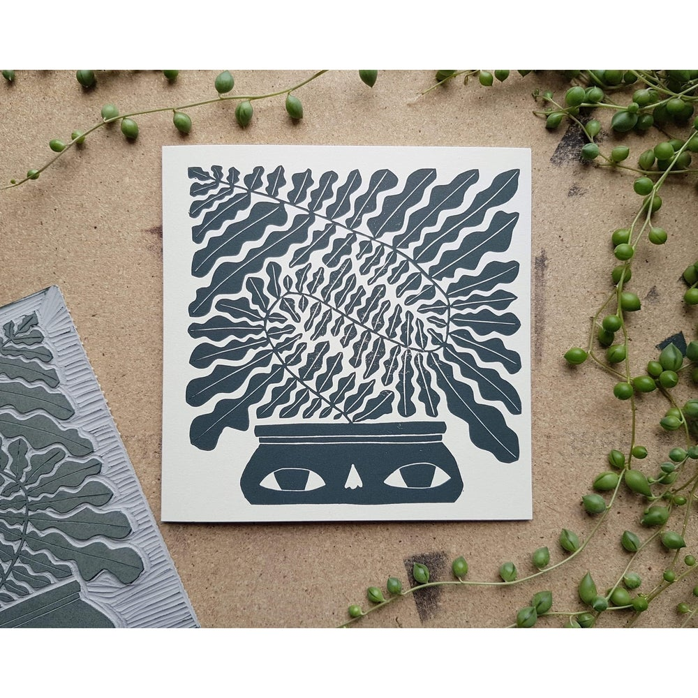 Image of Håndtrykket kort med konvolutt - plantemotiv av Anine Hansen