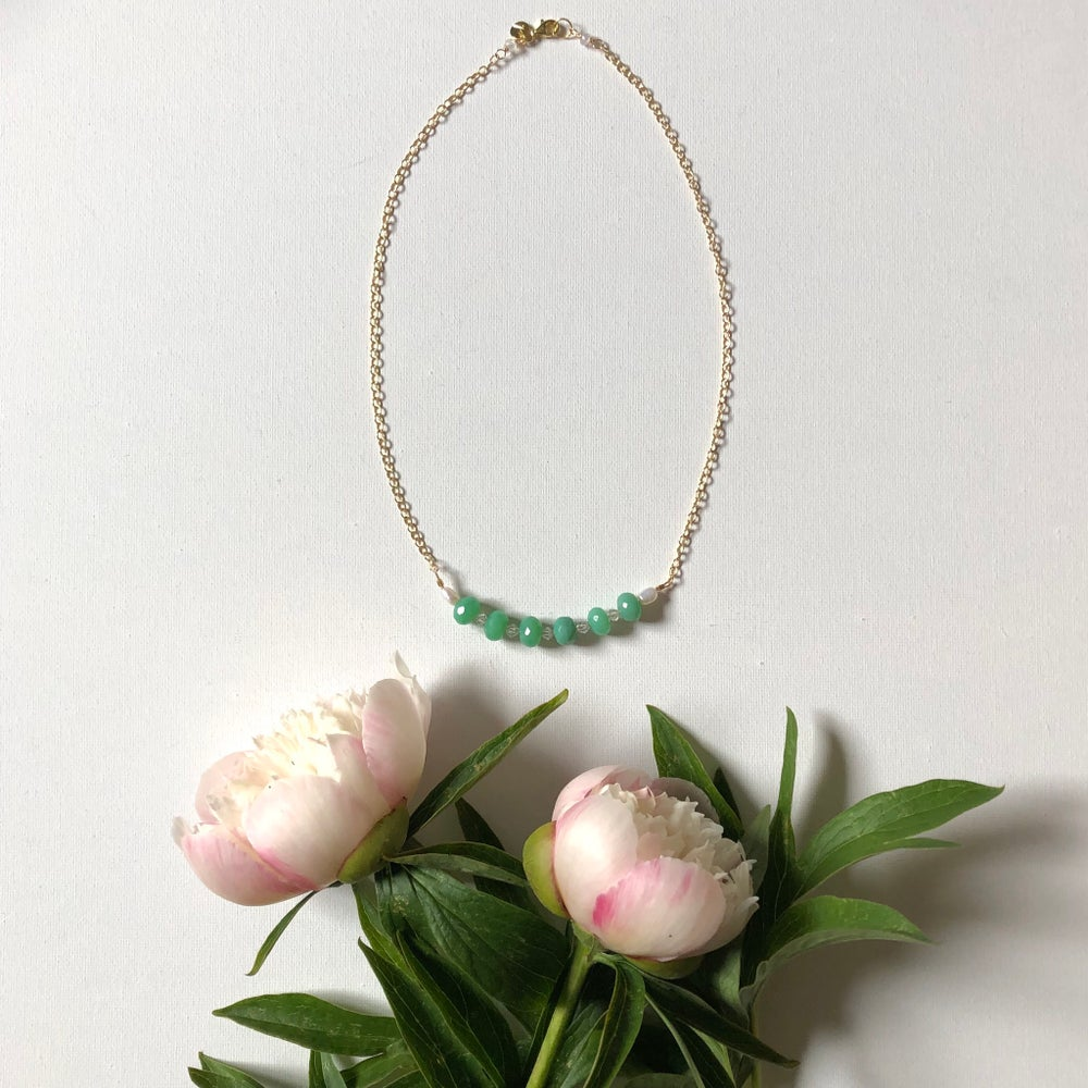 Image of Gemstone & Pearl Chain Necklace