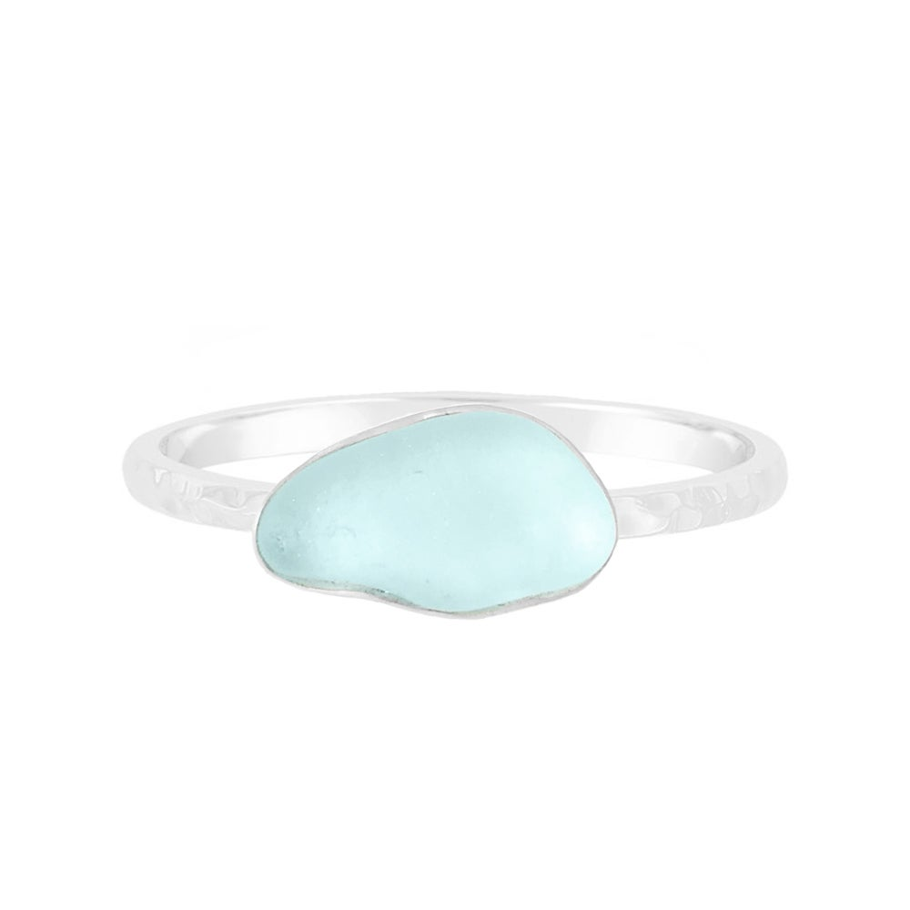 Image of Sea Glass Stacking Ring - Blue Sea Foam