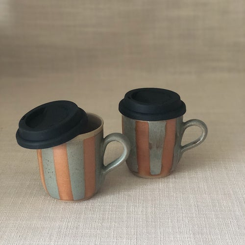 Image of HIGHWATER DARK STRIPY TRAVEL MUG