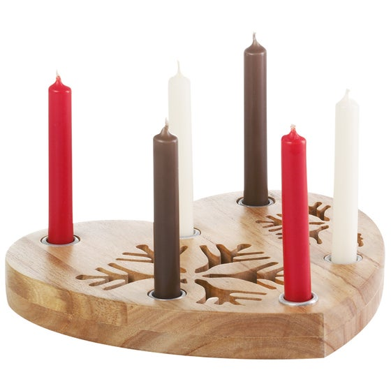 Image of Wooden Heart Candle Holder
