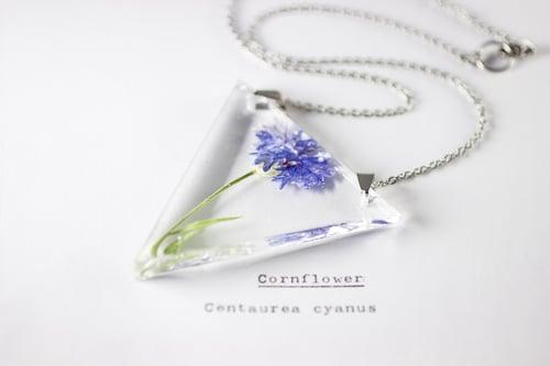 Image of Cornflower (Centaurea cyanus) - Triangular Pressed Pendant #2