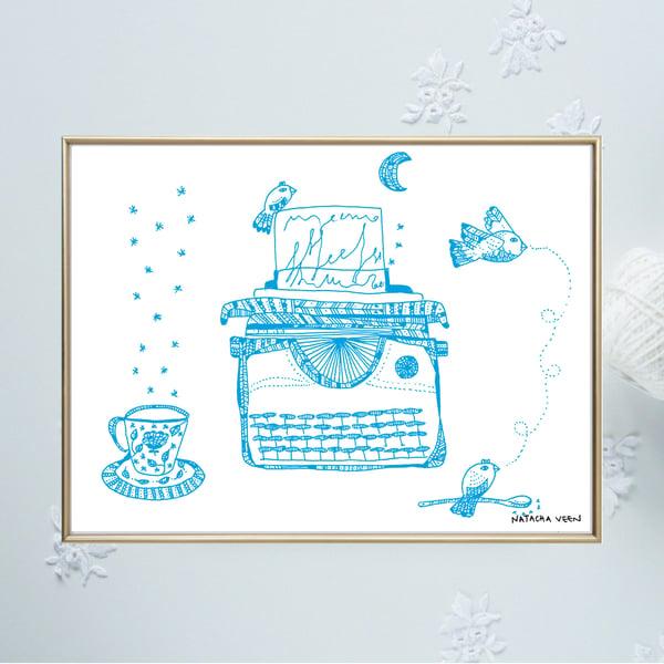 Image of Blue *Typewriter*_A4