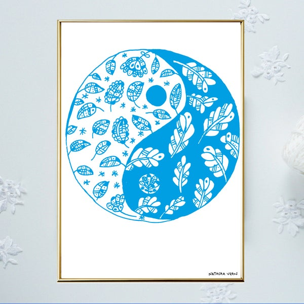 Image of Blue *Yin & Yang*_A4