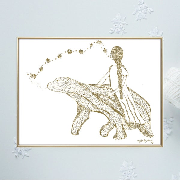 Image of Gold *Poetic Bear & a dreaming Woman*_A4