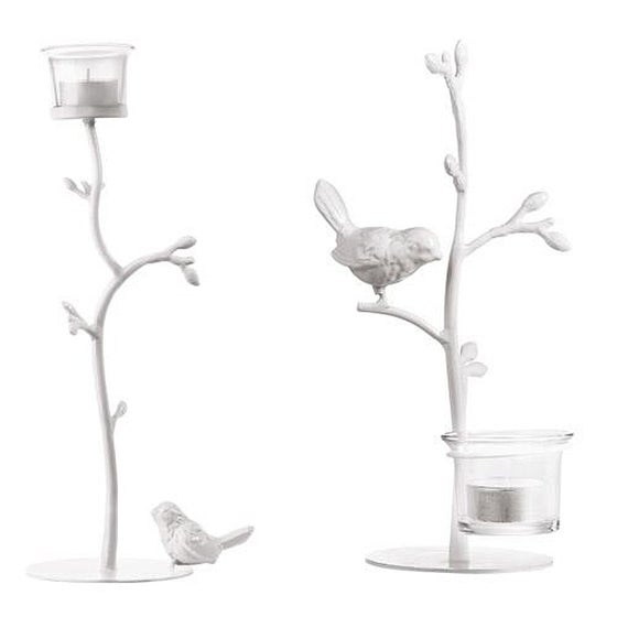 Image of White Bird Branch Tealight Holder Set