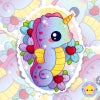 Kawaii Magic Seahorse Holographic Sticker