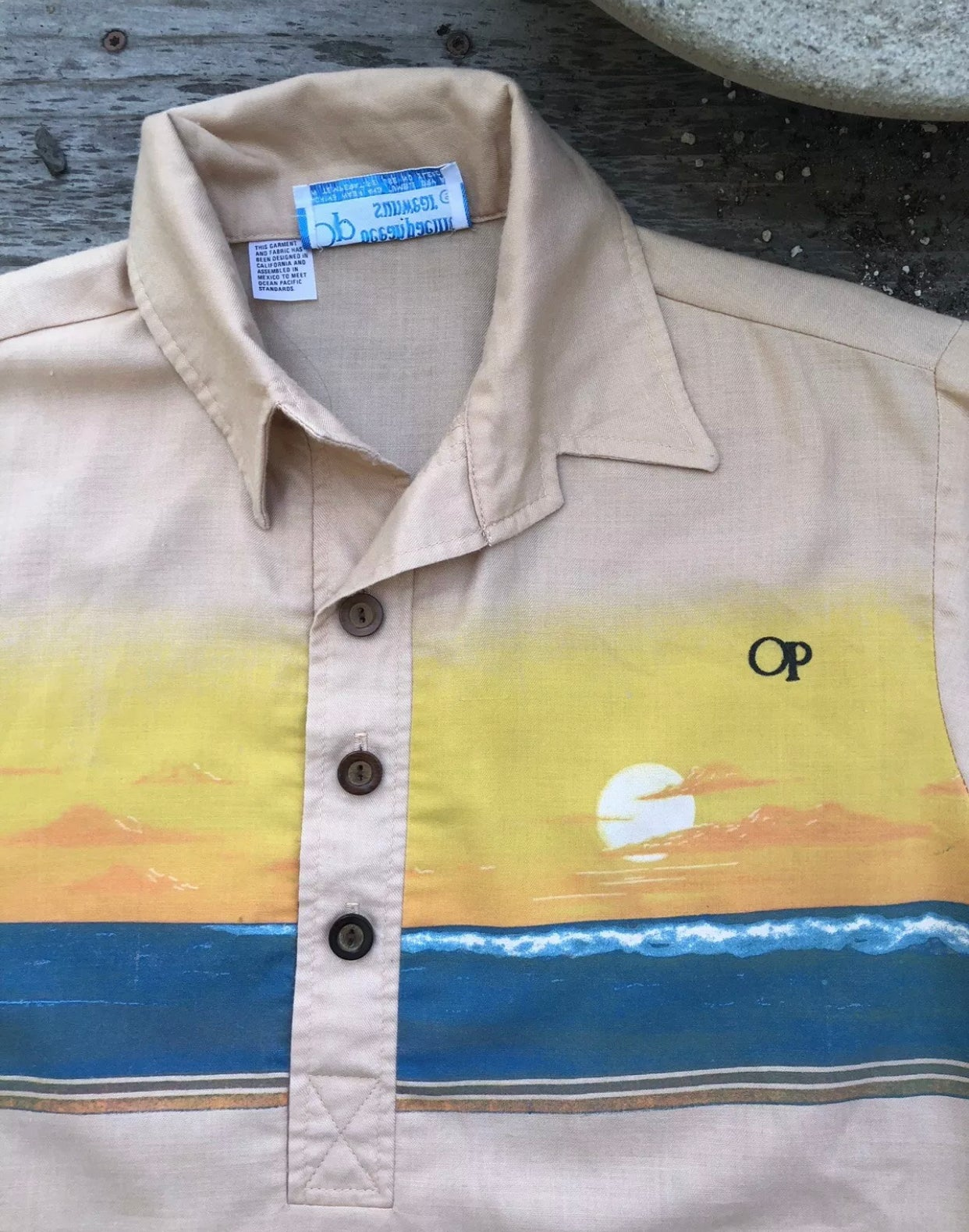Image of Rare 1970s Op Ocean Pacific Surf Hawaiian Shirt ~ Dogtown