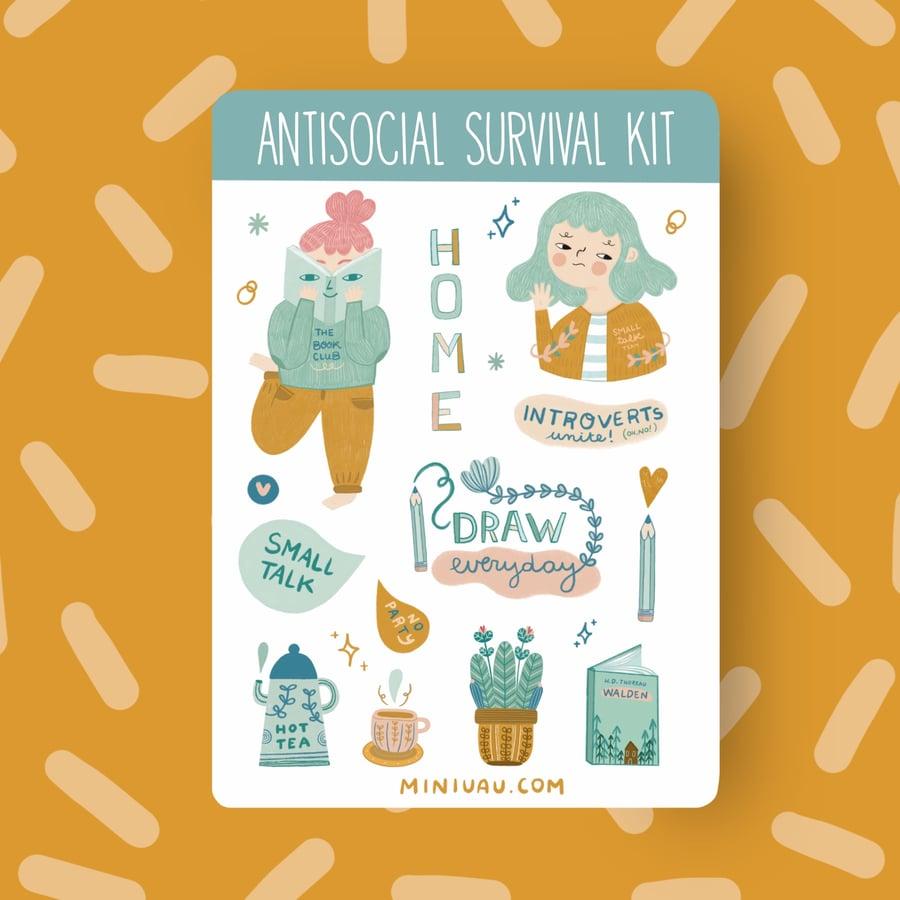 Image of Antisocial survival kit A6 sticker sheet
