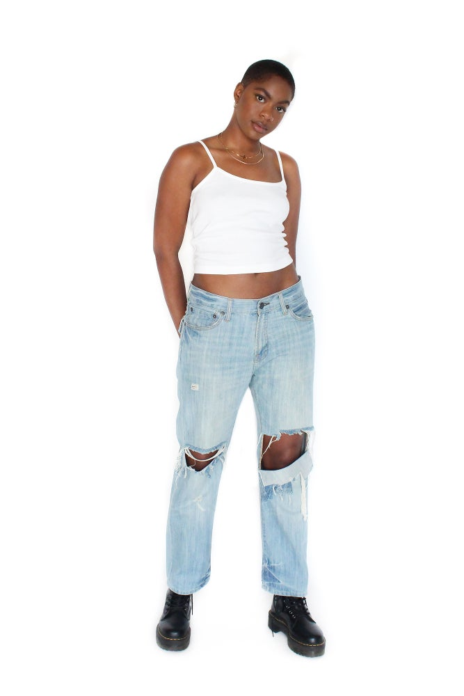 Image of 'TROWEL' SHREDDED JEANS