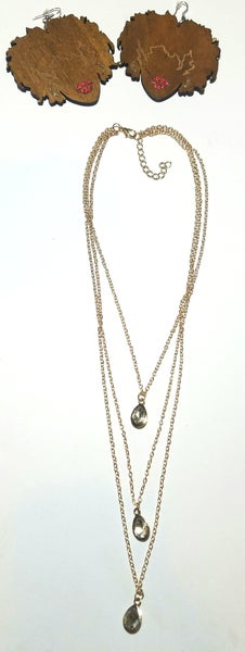 Image of Naturally Queen Earrings & Drop Layered Necklace Set