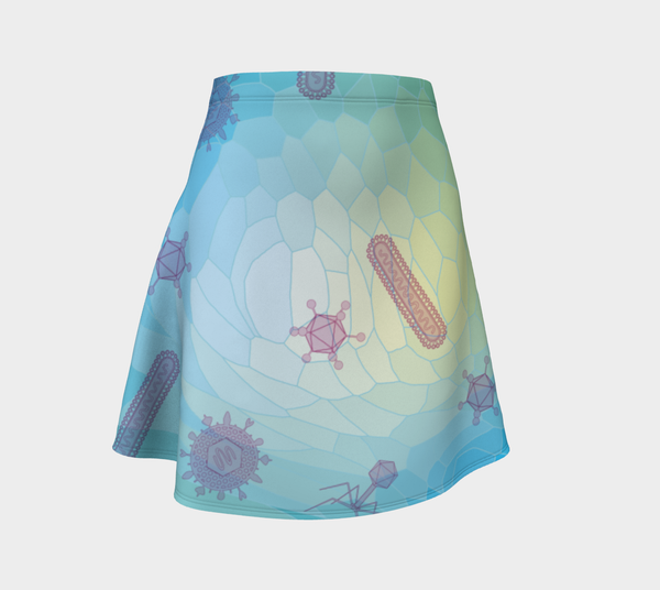 Image of Geometric Virus Skater Skirt - Blue