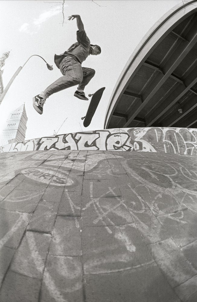 John Cardiel. 180 flip, Brooklyn Banks 1993 By Tobin Yelland