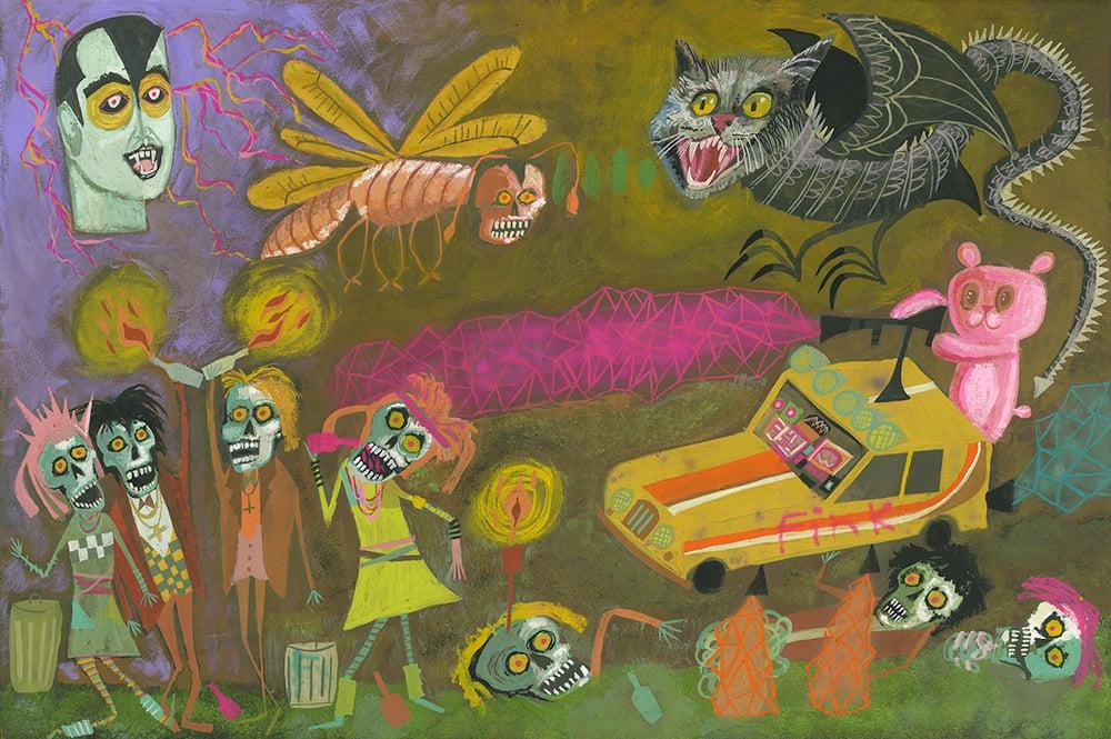 Image of 80s Zombie A Go Go. Original gouache painting on panel.