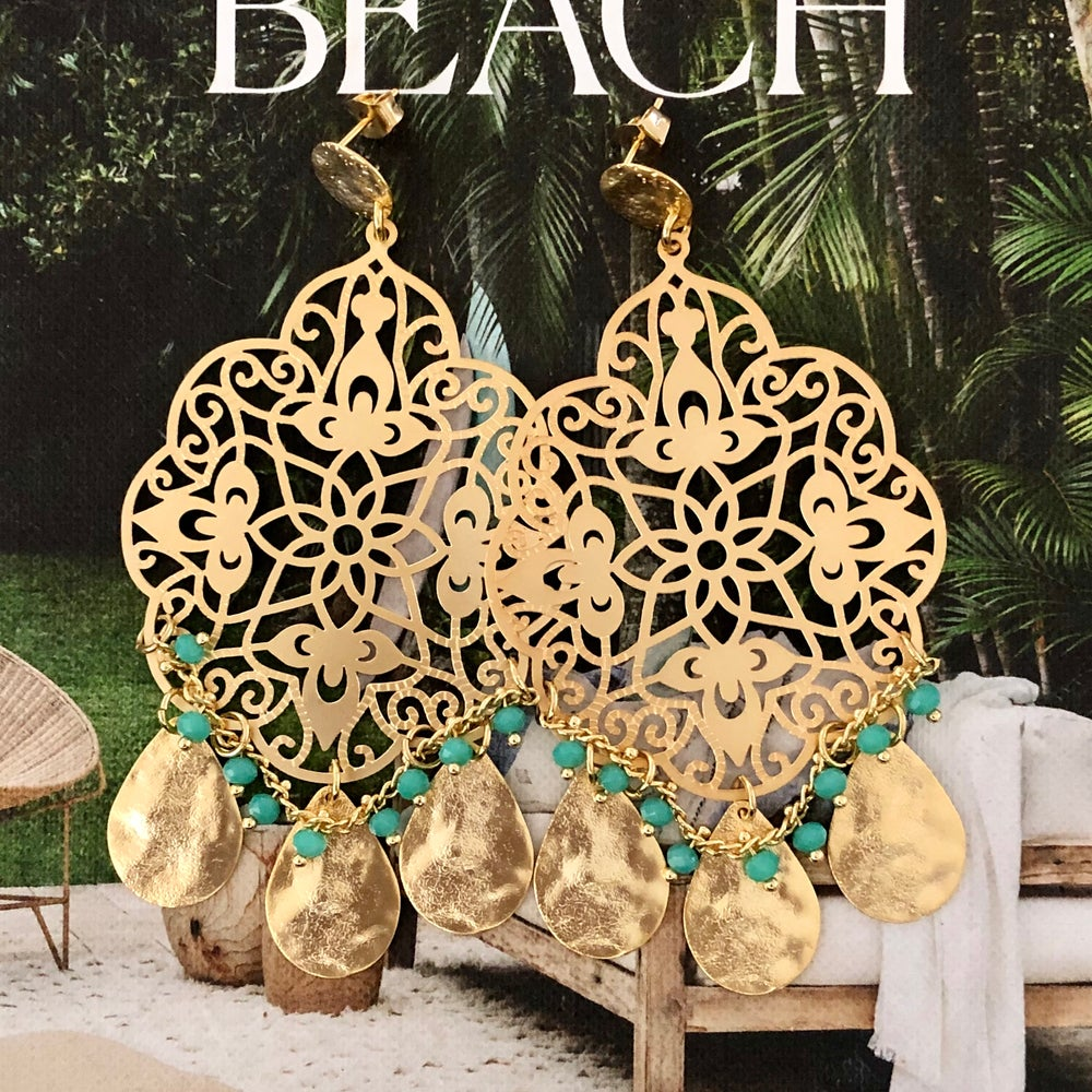 Image of LAST PAIR - Gold Marrakech Deluxe Earrings - Aquamarine
