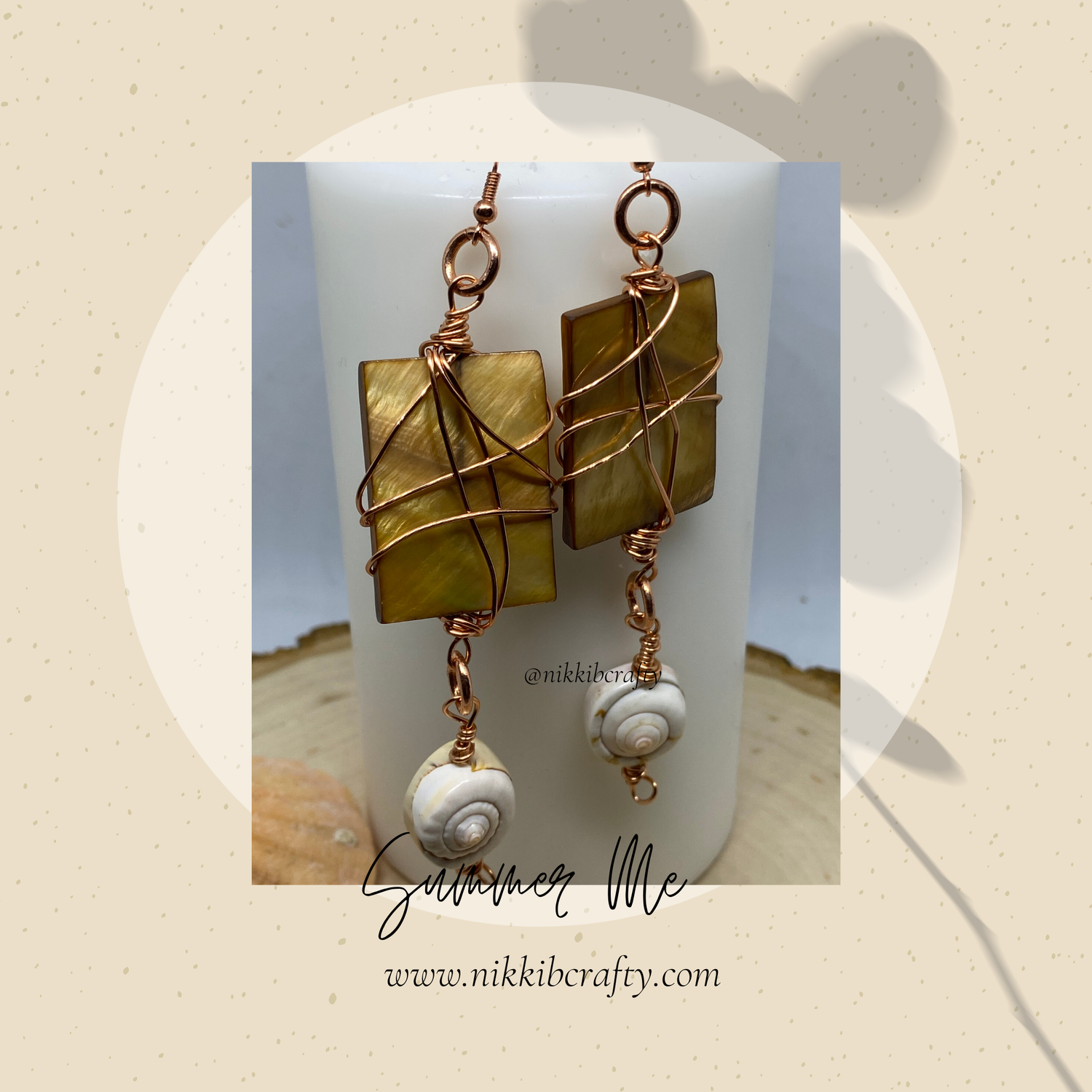 Image of Amber Shell earring- Summer me  Candlelight collection