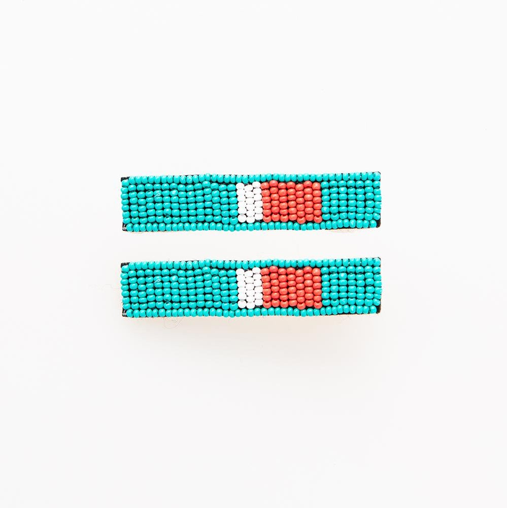 Image of Set of Two Beaded Hair Clips