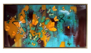 "Image of Original Canvas - Butterflies on Burnt Umber/Turquoise/Ochre - 24"" x 48"""