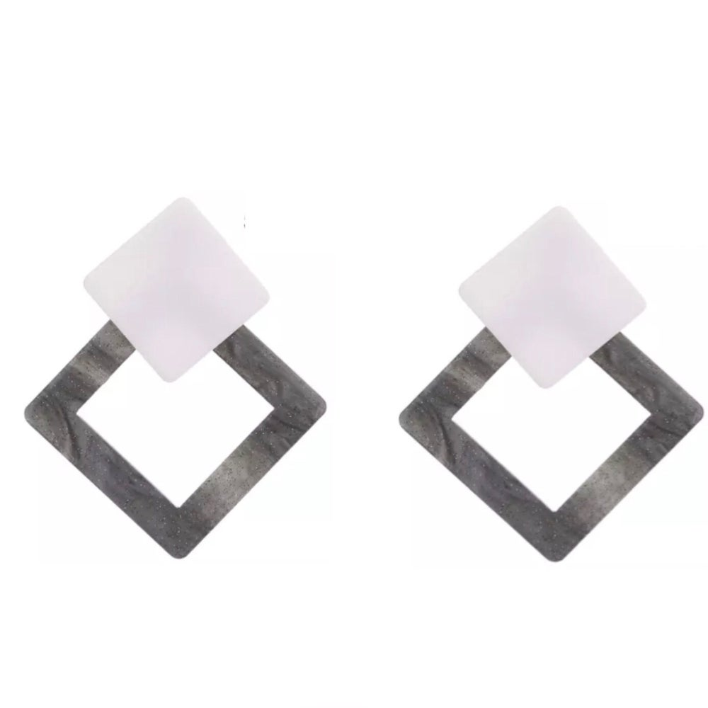 Image of Grey and White Statement Earrings