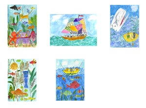 Image of Cat Fishing greeting card set.