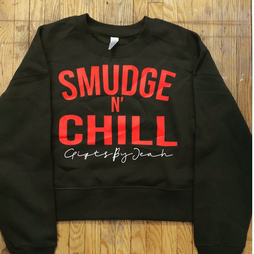 Image of Smudge & Chill | Black Cropped Crewneck