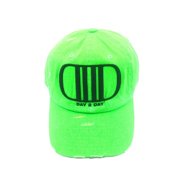 Neon Green/Black Distressed Dad Hat