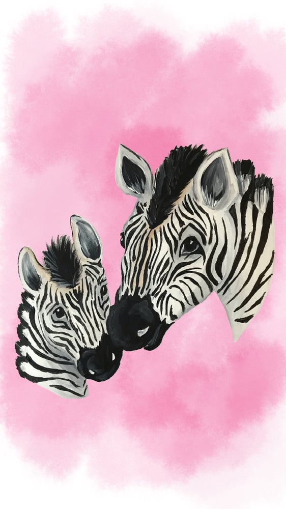 Image of Zebra & Child Art Print