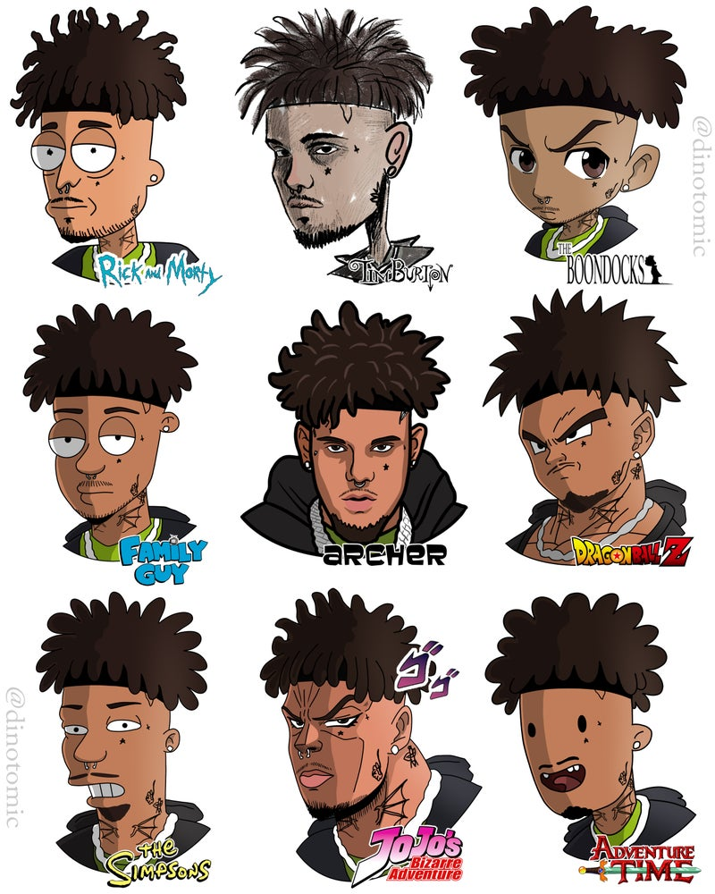 Image of #227 Smokepurpp drawn in 9 styles