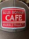 Gray Blue Bonnet Cafe Trucker Hat