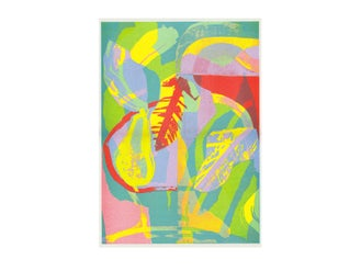 Image of 'Pear, Bowl, Leaf' A3 Riso Print GLASGOW PRINT FAIR