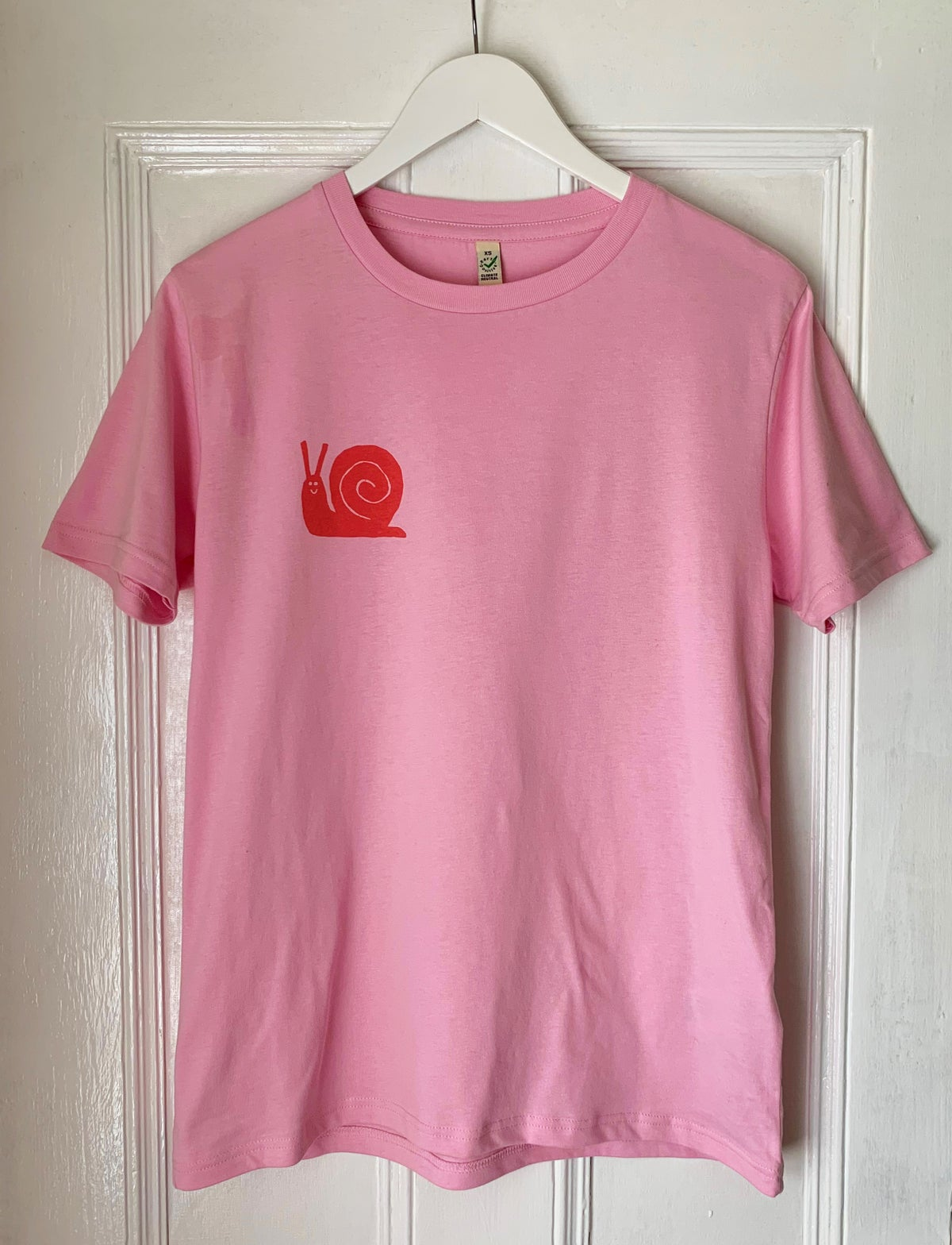 Image of T-shirt, Snail pocket, Screen print, Pink, Unisex