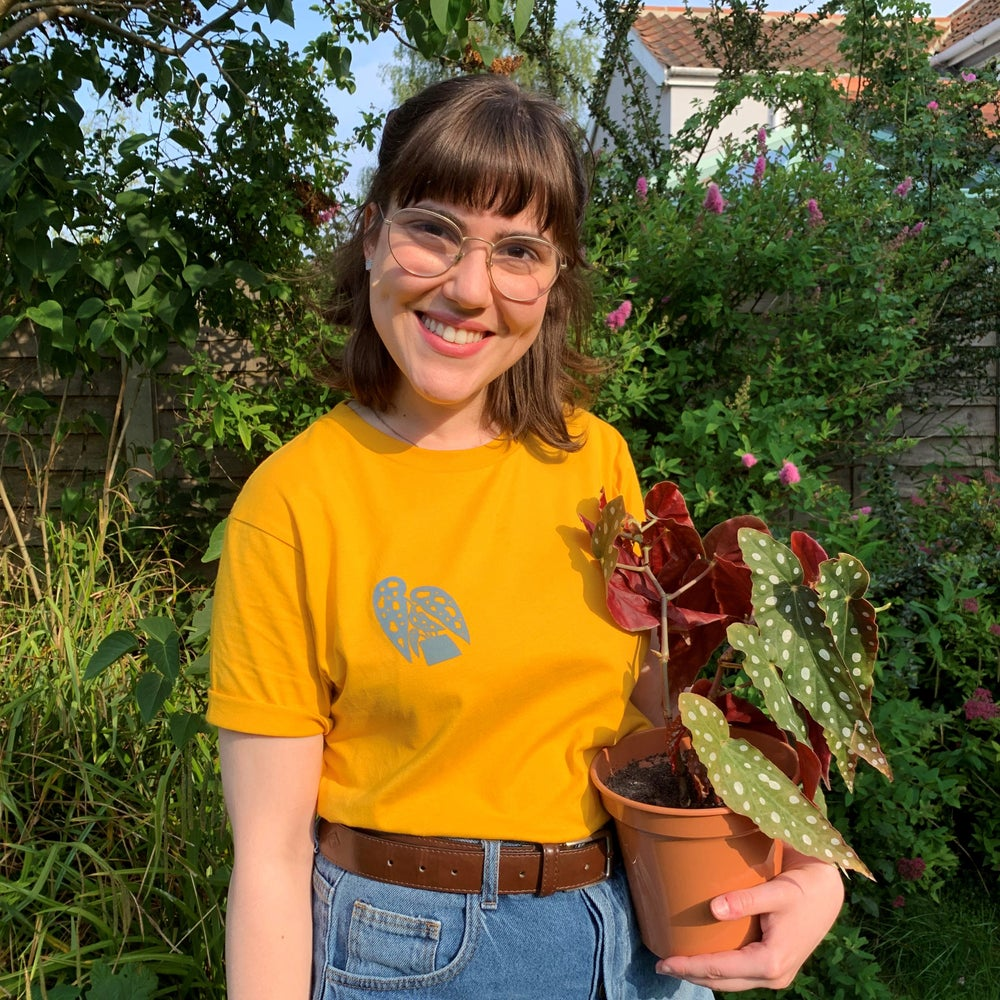 Image of T-shirt, Plant, Screen Print, Mustard Yellow