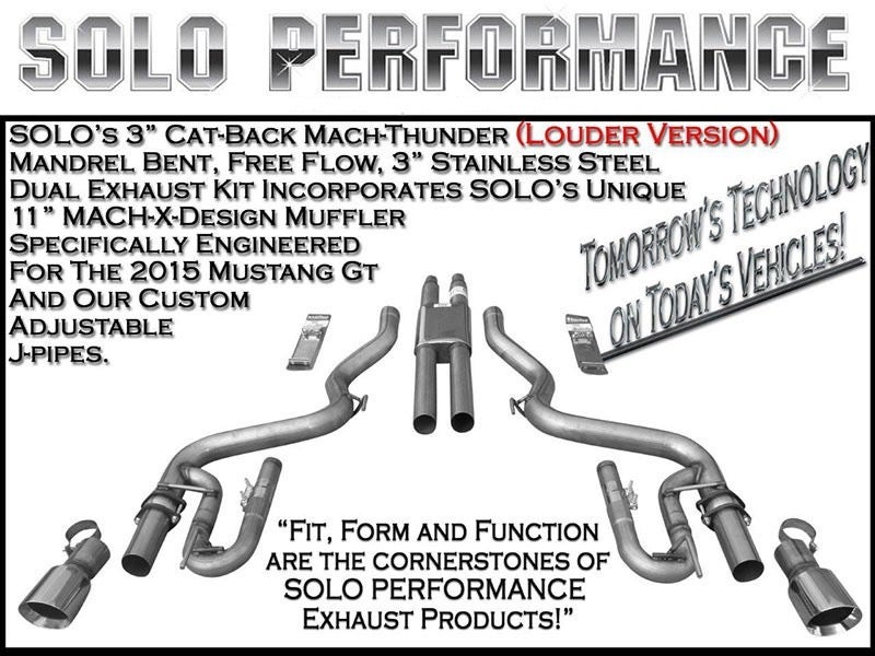 2015-2017 Ford Mustang GT 5.0L Solo Performance Exhaust Systems
