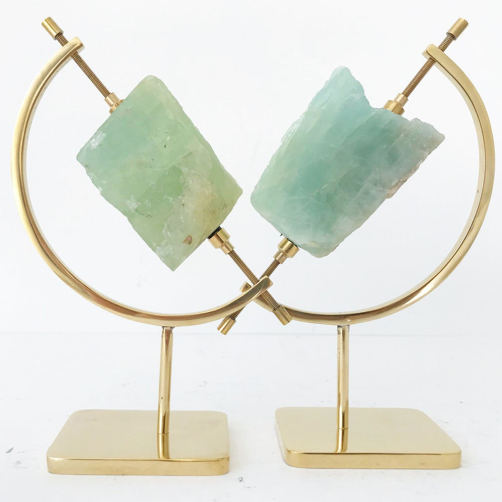 Image of Aquamarine no.30 + Brass Arc Stand