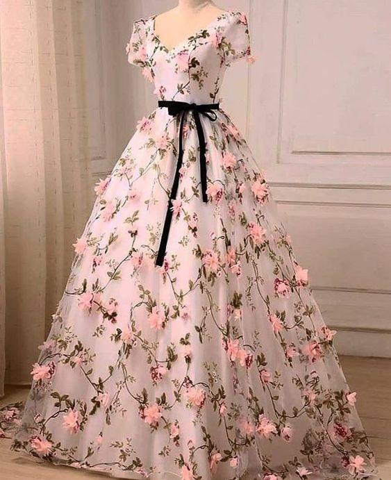 Charming Floral Long Ball Gown Formal Dress, Flower Evening Dress Prom Dress