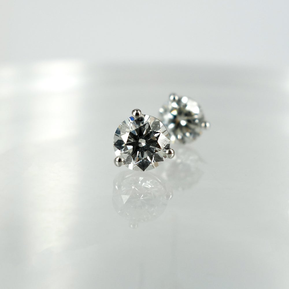 Image of 1ct Diamond stud earrings set with 18ct white gold