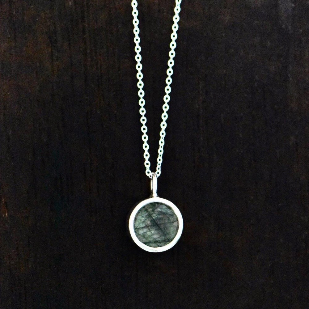 Image of Green Rutilated Quartz round cut silver necklace
