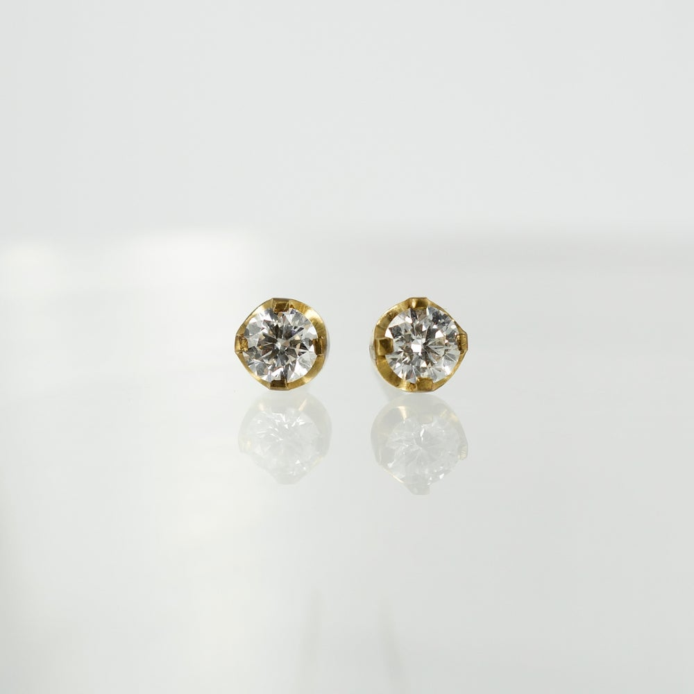 Image of 9ct yellow gold diamond stud earrings