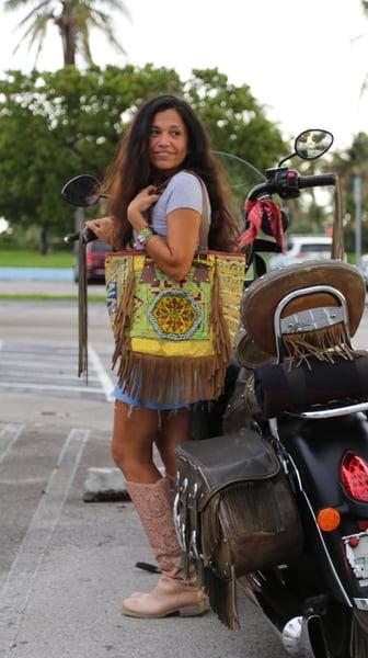 Image of Gypsy boho fringe Gypsy boho fringe tote bag, Fun and colorful handmade in India