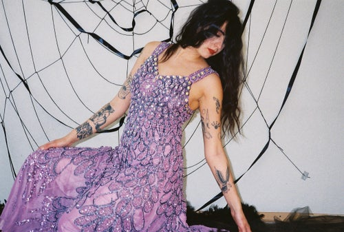 Image of Purple Handmade Embroidered Dress