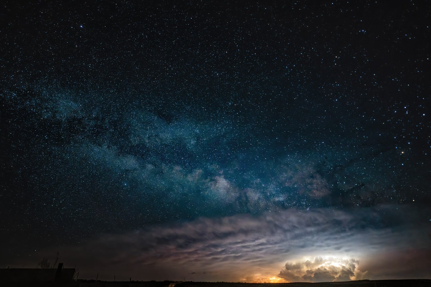 Thunderstorm with Milky Way