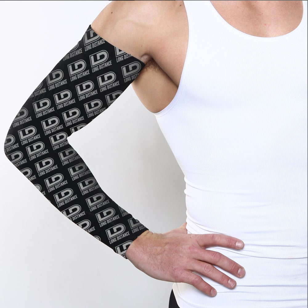 Image of Black Long Distance all over print compression sleeve