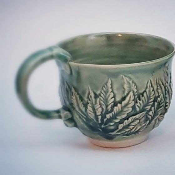 Image of Porcelain Green Hand Carved Leaf Mug