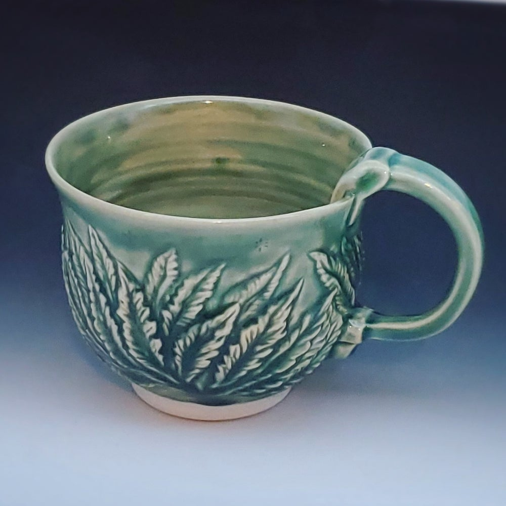 Image of Porcelain Green Hand Carved Leaf Mug